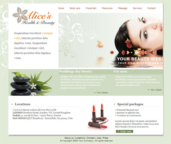 Free website beauty design beauty salon website templates free.