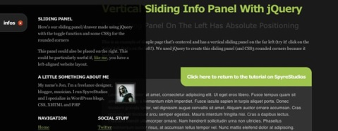 Free hide and expand vertical sliding panel animation