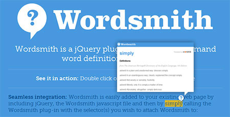 jQuery word definitions